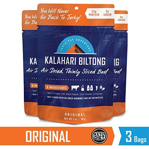 Kalahari Biltong   Air-Dried Thinly Sliced Beef   Original   2oz (Pack Of 3)   Sugar Free   Keto & Paleo   Gluten Free   Better Than Jerky