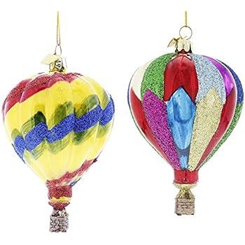 kurt adler noble gems hot air balloon christmas ornaments 2 assorted