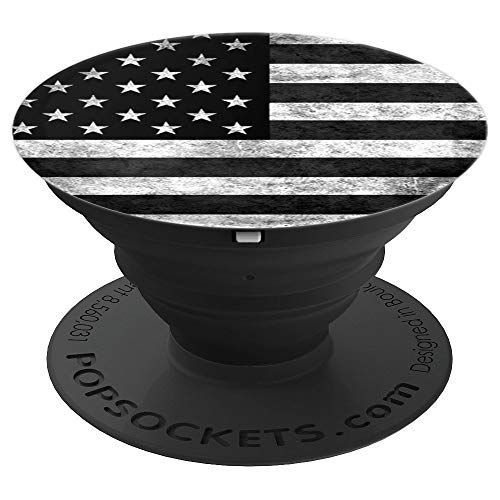 American Flag Phone Grip Black And White Vintage Design Usa - PopSockets Grip and Stand for Phones and Tablets