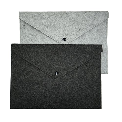 ERCENTURY Felt File Folder, Durable Briefcase, Document Bag, Paper File Folders, Portfolio Case, Letter Envelope, Handbag Button Closure, for Office Home School Stationery,Set of 2 (Dark & Light Grey)