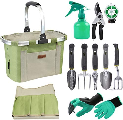 HappyPicnic Garden Tools Set with 11 Pieces Hand Tools, Garden Tools Bag with Heavy Duty Tools, Garden Tool Kit with Foldable Handle, Gardening Gifts for Mom – Green