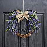 QUNWREATH Handmade 14 inch Lavender Series Wreath,Love Letter,Burlap Wreath,Fall Wreath,Wreath for Front Door,Rustic Wreath,Farmhouse Wreath,Grapevine Wreath,Light up Wreath,Everyday Wreath,QUNW03