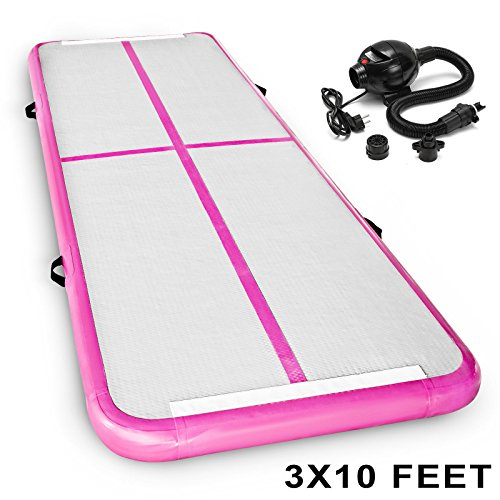 SHZOND 10'x3' Inflatable Gymnastics Tumbling Mat Air Tumbling Track w/ Electric Pump Gymnastic Air floor Mat Tumbling Floor Mat/Air Box/Home Pink