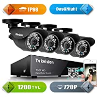 Tekvision H.264 AHD 8CH 720P HD DVR Security Camera System, Outdoor Surveillance Kit with 4 Waterproof Day&Night IR Cut Bullet Cameras, No HDD