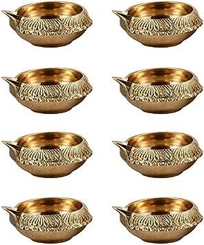 Hashcart Engraved Kuber Design Dia in Brass - Diwali Decoration Light