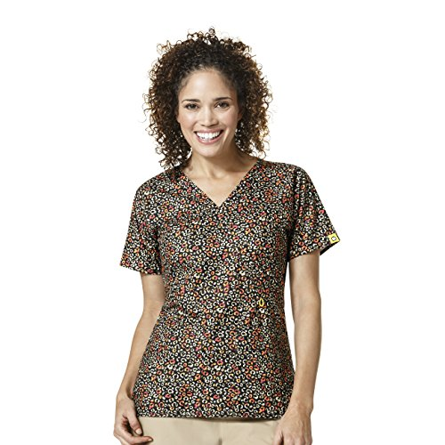 WonderWink Women's Peek-a-Boo Pocket Print Top, Wild n Free, Medium