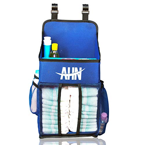 Hanging Diaper Caddy Organizer, Nursery Organizer, Playard Nursery Organizer, Baby Diaper Caddy, Diaper Stacker for Changing Table, Crib, Baby Shower Gifts for Newborn, Blue (Large, Blue) from AHN Sale
