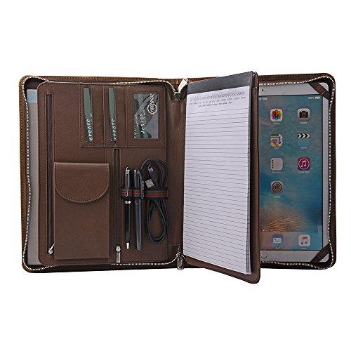 Crazy-Horse Leather Padfolio, Multi-Function Business Binder/case,Document Organizer Holder for iPad Pro 2018 12.9