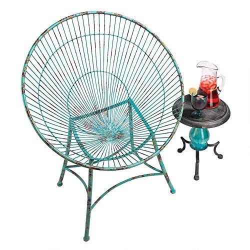 Design Toscano Saint-Tropez Sculptural Metal Hoop Garden Chair (1950's Metal Outdoor Furniture)