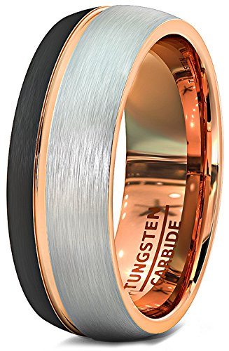 Mens Wedding Band 8mm Black White Brushed Tungsten Ring Thin Side Rose Gold Groove Dome Edge Comfort Fit (8.5)