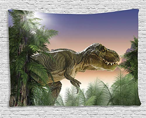 Ambesonne Jurassic Decor Tapestry, Dinosaur in The Jungle Trees Forest Nature Woods Scary Predator Violence, Wall Hanging for Bedroom Living Room Dorm, 80 W X 60 L Inch