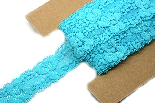 JLIKA Stretch Lace Elastic - 12 Yards - 1 Inch Wide - Trim Lace for Headbands Weddings (Turquoise) -