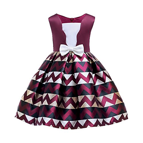 Romance8 Girl Tutu Dress, Sleeveless Flower Stripe Bow Dress Skirt Princess
