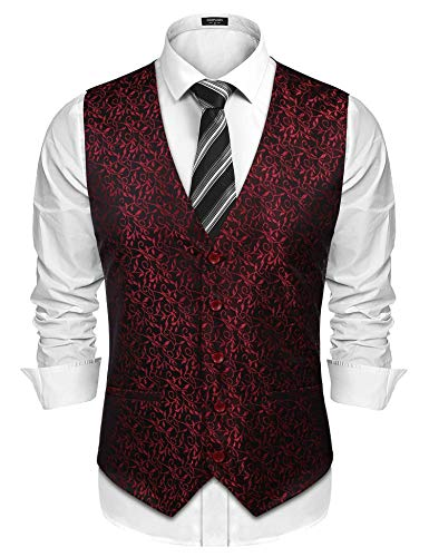 (COOFANDY Men's V-Neck Slim Fit Dress Suit Sleeveless Paisley Vest Waistcoat, Wine Red,)