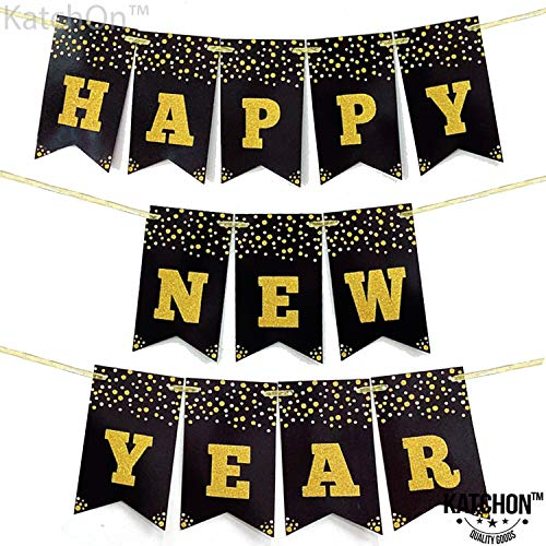 Happy New Year Banner Sign - Large Size | No DIY | Real Glitter | New Years Eve Party Supplies 2020 | Happy New Year Party Decorations 2020 | NYE Decorations | Black and Gold New Years Eve Decorations