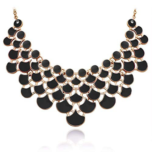 JANE STONE Necklace Magnetic Scaly Black Jewelery Vintage Openwork Bib Statement Fall Wedding Necklace(Fn0968-Black) -