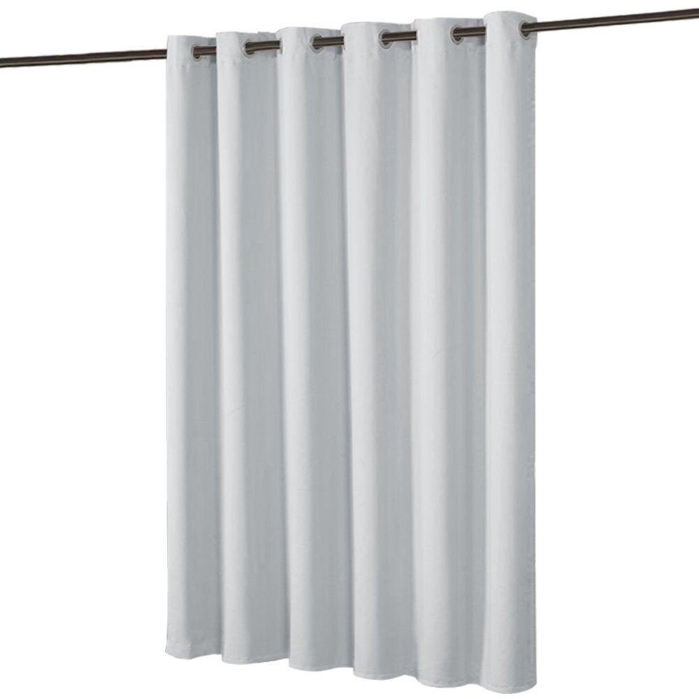 PONY DANCE Room Divider Curtain Screen Partitions - Separate Function Light Blocking Privacy Protect Heavyweight Window Drapes Patio Door Apartment & Studio, Greyish White, 10ft W 8ft L, 1 Panel