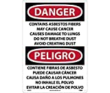ESD24PC National Marker Label, Danger Contains Asbestos Fibers May Cause Cancer Causes Damage to Lungs Do Not Breathe Dust Avoid Creating Dust, 14 Inches x 20 Inches, Ps Vinyl