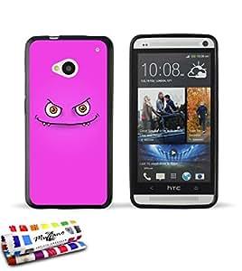 Carcasa Flexible Ultra-Slim HTC ONE de exclusivo motivo [Monstruo rosado] [Negra] de MUZZANO  + ESTILETE y PAÑO MUZZANO REGALADOS - La Protección Antigolpes ULTIMA, ELEGANTE Y DURADERA para su HTC ONE