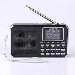 Mfine 938B Black Portable Speaker AM/FM Radio Music Player Micro SD/TF Card