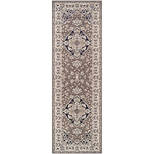 Superior Elegant Glendale Collection Area Rug, 8mm Pile Height with Jute Backing, Traditional Oriental Rug Design, Anti-Static, Water-Repellent Rugs - Brown, 27 x 8 Runner