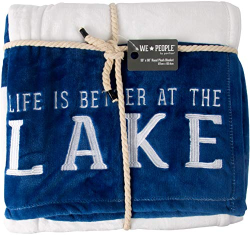 Pavilion - Life is Better at The Lake - Blue & White Striped Super Soft 50 x 60 Inch Striped Throw Blanket with Embroidered Text