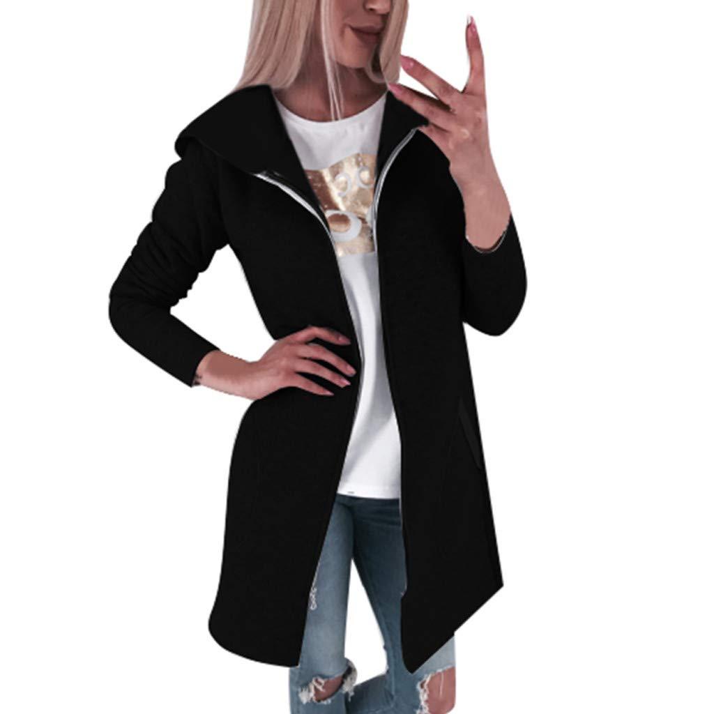 Fashionhe Coat for Women, Casual Outwear Hooded Jacket Warm Overcoat Pocket Solid Color Sweatshirt(Black.L) by Fashionhe