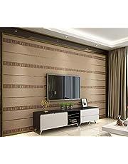 ورق حائط بتصميم خلفية ثلاثية الابعاد منقوشة وبارزة لغرفة النوم والمعيشة بلون جلد الغزال المخطط بلمحة بسيطة وعصرية-اكس اس كيو