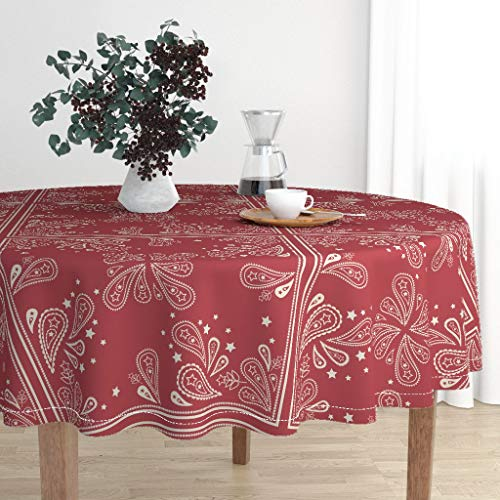 Roostery Round Tablecloth - Bandana Stars Red Paisley Floral Stripes Kerchief by Digitallove - Cotton Sateen Tablecloth 90in