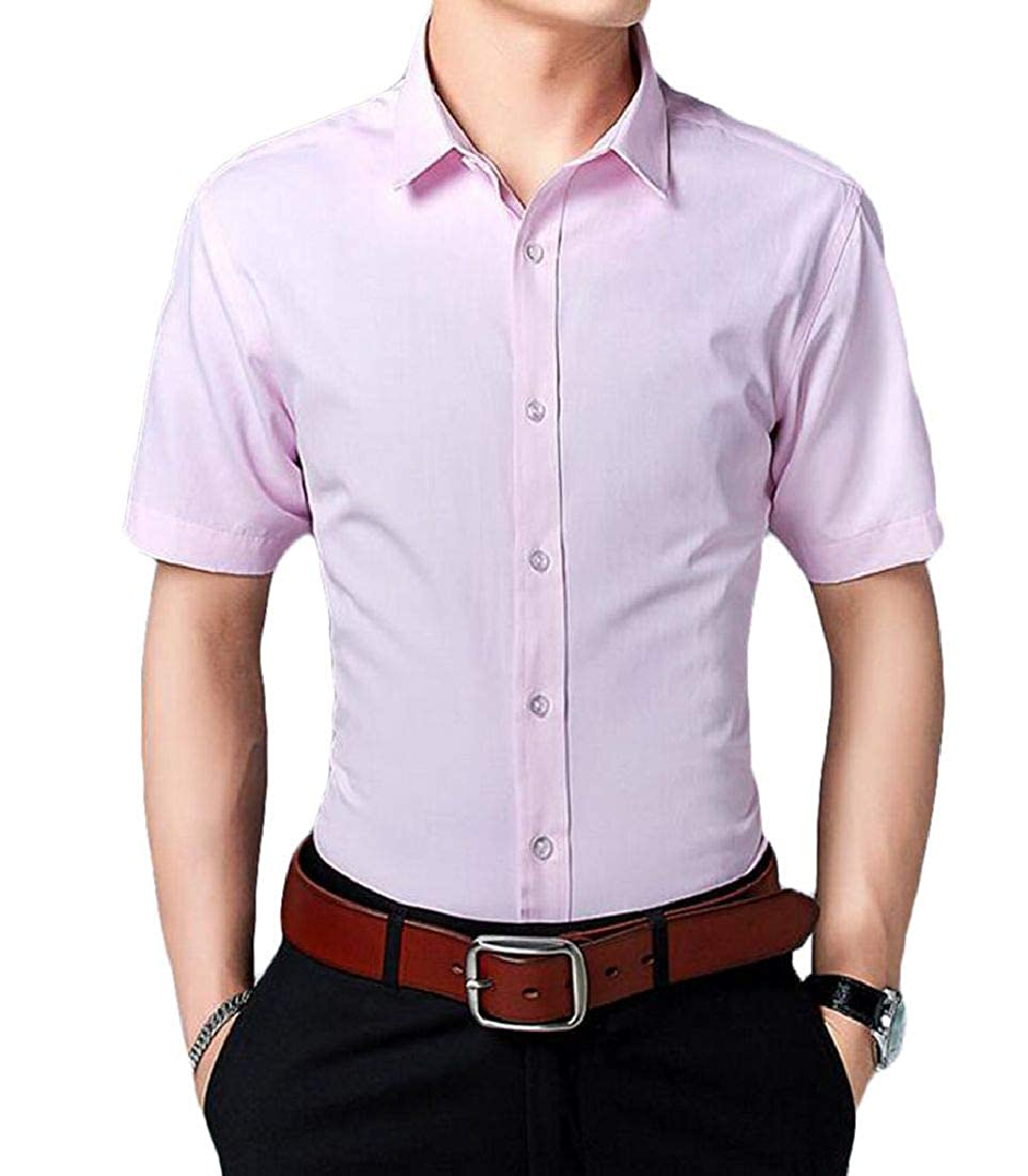 Nanquan Men Big /& Tall Short Sleeve Business Slim Fit Dress Shirt