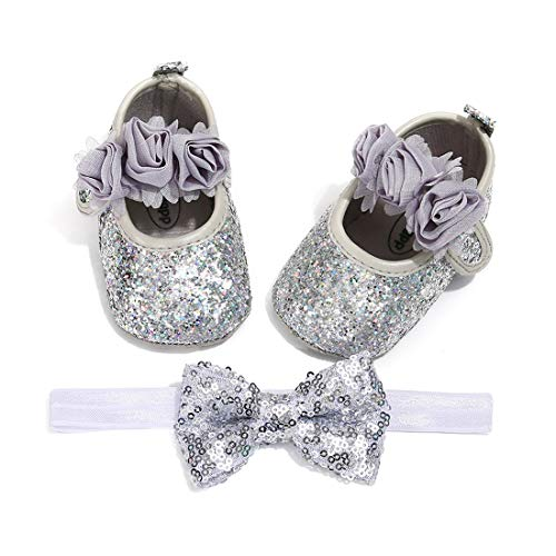 OAISNIT Baby Girl Mary Jane Flats Sparkly Soft Infant Princess Dress Crib Shoes with Headband ()