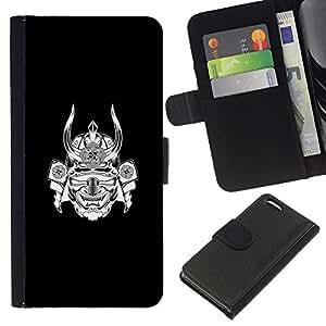 A-type (Samurai Japan Warrior Mask Black Ink) Colorida Impresión Funda Cuero Monedero Caja Bolsa Cubierta Caja Piel Card Slots Para Apple Iphone 5C