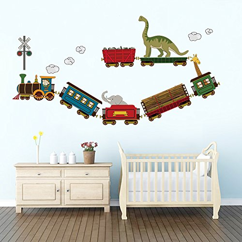 DecalMile Animal Train Wall Decals Dinosaur Elephant Giraffe Wall Stickers Peel and Stick Removable Vinyl Wall Decor for Kids Bedroom Baby Nursery Children's Room - Elephant Train