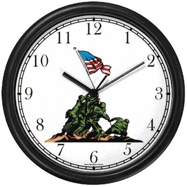 - US Flag Raising over Iwo Jima Americana - Famous Landmarks - Wall Clock by WatchBuddy Timepieces (Black Frame)