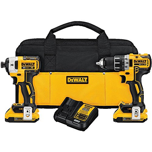 DEWALT DCK283D2 MAX XR Lithium Ion Brushless Compact Drill/Driver & Impact Driver Combo Kit, 20V (Dewalt Driver And Drill)
