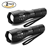 LED Torch, Binwo Super Bright 2000 Lumen Zoomable CREE LED Flashlight, XML2 T6 Adjustable Focus Tactical Flashlight with 5 Modes, Waterproof Handheld Mini Torch for Hiking, Cycling, Camping and other Outdoor Sports ( 2 PACK )