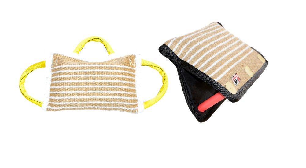 Bundle of 1 - 3 Handle Jute Bite Pillow Firm & 1 - 3 Handle Jute Bite Targeting Wedge - Redline K9