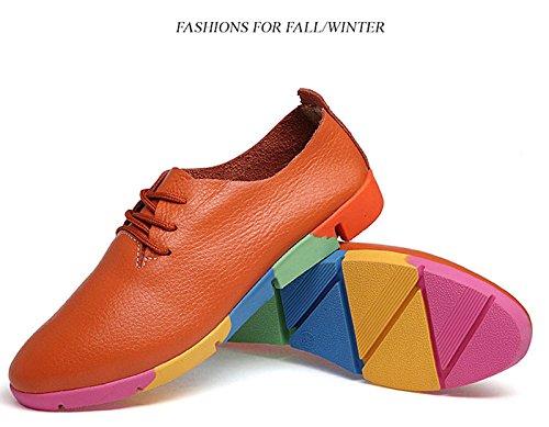 Gaorui Vrouwen Meisje Studenten Puntschoen Lace Up Casual Schoenen Oxford Pumps Platte Sneakers Oranje