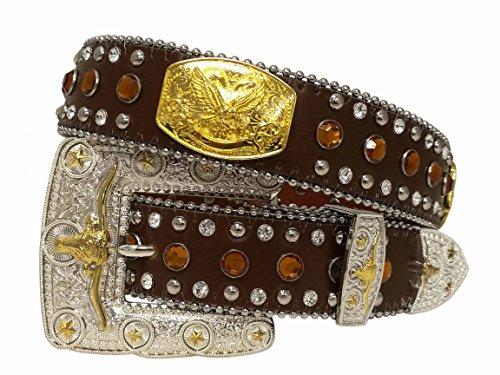 Belt Buckle Gold Bling (West Star Women or Men Gold Concho Head Turner Shiny Longhorn Buckle Super Bling Soft Leather Belt)