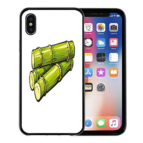 Semtomn Phone Case for Apple iPhone Xs case,Pile of Fresh Raw Green Sugar Cane Sketch Realistic Sugarcane Jamaican Rum Ingredient for iPhone X Case,Rubber Border Protective Case,Black ()