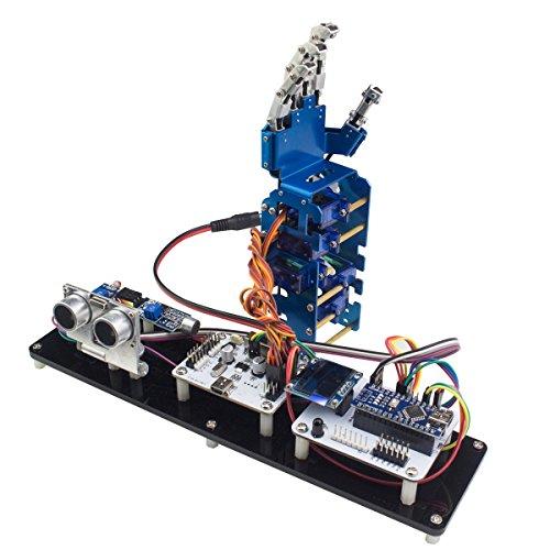 LewanSoul MiniHand 5DOF Metal Robot Hand Humanoid Five Fingers with Ultrasonic Sensors, Sound Sensor, Light Sensor, Controller for (Sonic Robot)