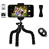 KenCa Phone Tripod with Finger-holder and Bluetooth Remote Control Camera Shutter, Suitable for Most Smartphones, Camera or Webcam
