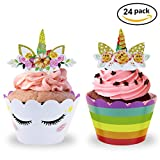 Unicorn Party Supplies Cupcake Toppers and Wrappers Double Sided Kids Party Cake Decorations Set of 24 (White)