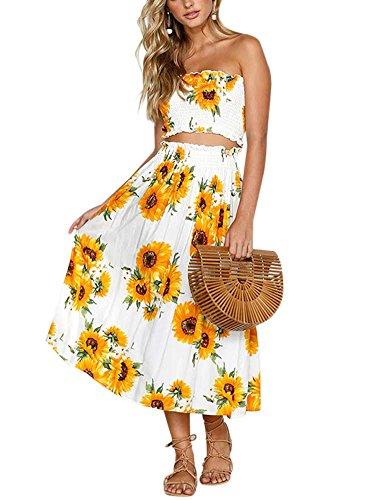 r Sunflower Print Crop Top Skirt 2 Pieces Beachwear Maxi Long Dress XL ()