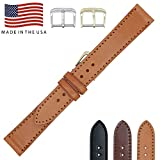 22mm London Tan - English Bridle Leather - Flat Stitched Watch Strap Band - Gold & Silver Buckles Included – Factory Direct - Made in USA by Real Leather Creations FBA174