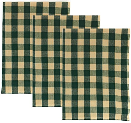 Dunroven House Buffalo Check 100% Cotton Kitchen Towels, Set of 3 (Green)
