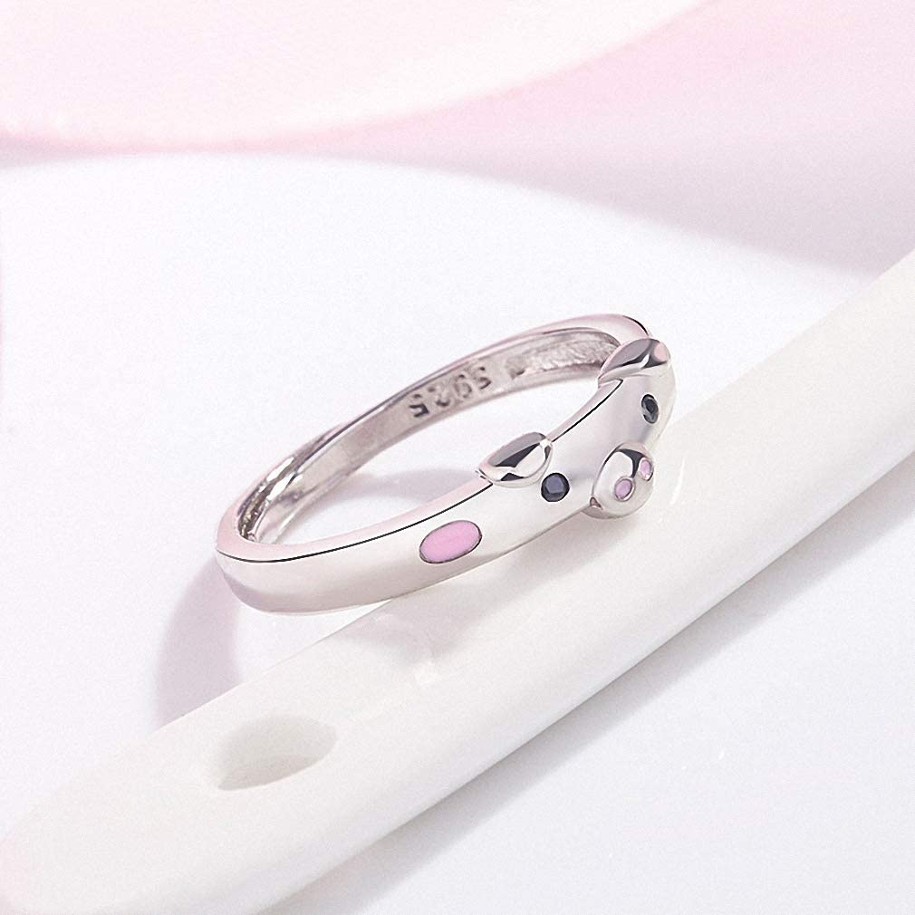 Cute Popular Lucky Pig Couple Ring Opening Women/'s Jewelry Lover Gift Adjustable