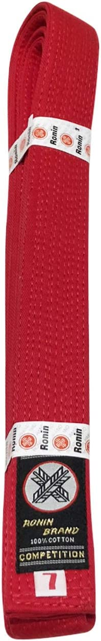 Ronin Deluxe Cotton Red Belt Tae Kwon Do Masters Belt for Karate Jiu-Jitsu Martial Arts Judo