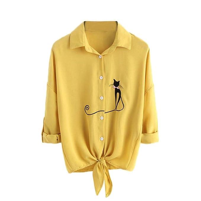 BaZhaHei de Blusa, Camisetas de Mujere Camisas de Dobladillo Anudada del Gato del Gato Bordado de Las Mujeres Blusas de botón de la Blusa de Manga Larga ...