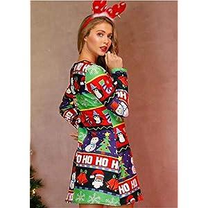 2020 Christmas Santa Claus Print Womens Long Sleeve Midi Dresses Casual Party Prom Formal